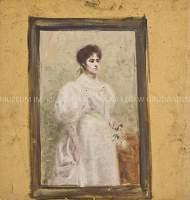 Dama w bieli; na odwrociu studium fotela do fresku w Krzyżowej