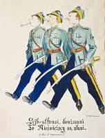 Karykatura - ilustracja  Żurawiejki 27. pułku ułanów Ciechanowskich