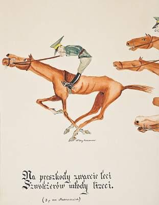 """Karykatura - ilustracja """"Żurawiejki""""  3. pułk szwoleżerów Mazowieckich"""