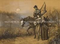 Szkic figuralny z jeźdźcem, chłopcem i mnichem w krajobrazie