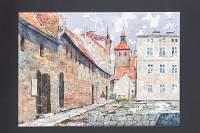 Ulica Spichrzowa, w głębi wieża fary, z lewej spichrze
