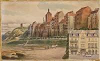 """Widok na Spichrze i Górę Zamkową oraz fragment kamienicy przy Getreidemarkt 24, w której mieściła się kawiarnia """"Kaiser-Kaffe"""""""